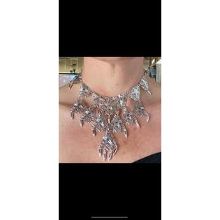 70's Silver Plated Bib Necklace by Vendome