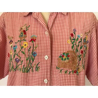 90's Red and White Checkered Button Up with Floral Embroidery by Casey & Max