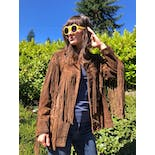 another view of 70's Western Fringed Leather Jacket by Rancher