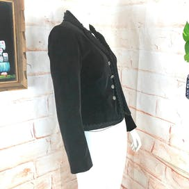 70's Black Velvet Victorian Cropped Jacket by Bill Atkinson