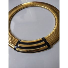 80's Ribbed Gold Statement Choker Necklace