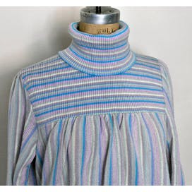 80's Pastel Turtleneck Striped Sweater by Great Times