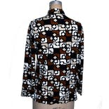 another view of 70's Brown, White and Black Geometric Pattern Blouse by Joanna