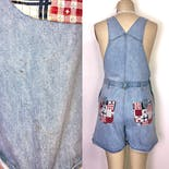 another view of 90's Light Wash Patchwork Overall Romper