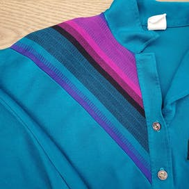 80's Teal Popover Polo Top with Decorative Detailing by Graff Sportswear