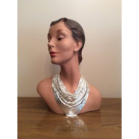 70's Silver Mesh Bib Necklace by Whiting and Davis