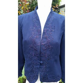 Blue Beaded and Embroidered Blazer by Karin Stevens