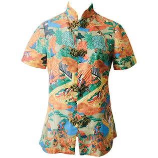 Japanese Print Fitted Shirt