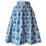 50's Blue Rooster and Hen Printed Circle Skirt