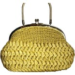 60's Yellow Sunshine Raffia Handbag