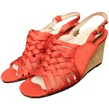 60's Deadstock Strappy Red Satin Cork Wedge Sandals by Farolini