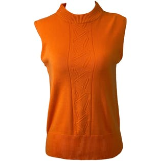 80's Bright Orange Sleeveless Mock Neck Top