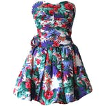 80's Strapless Multicolor Floral Ruched Dress by My Michelle