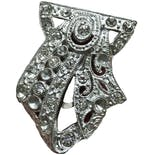20's/30's Shield Shaped Art Nouveau Rhodium and Paste Rhinestone Dress Clip