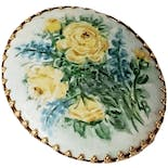 Oval Yellow Rose Fashion Brooch