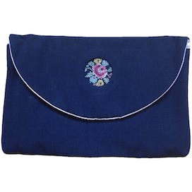 Embroidered Detail Flowers Coin Pouch