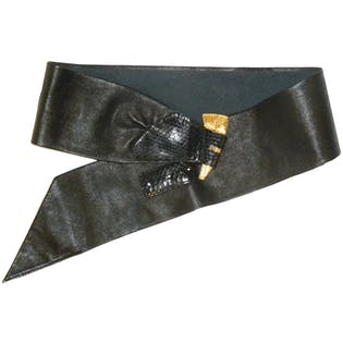 80's Black Leather and Snakeskin Belt with Gold Detail by Magid, Genuine Leather