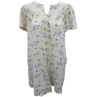 Off White Floral and Butterfly Print Button Up Nightgown