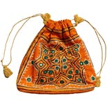 70's Orange Drawstring Tote Purse with Embroidery