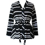 70's Black and White Striped Button Up Cardigan with Belt
