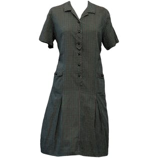 60's Blue Green Check House Dress