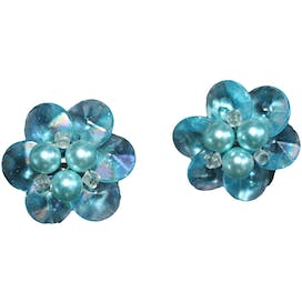 50's/60's Blue Iridescent Floral Faceted Bead and Faux Pearl Cluster Earrings