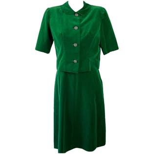 50's Emerald Green Sheath Dress & Matching Jacket by R&K Originals