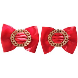 80's Bright Red and Gold Bow Shaped Shoe Clips