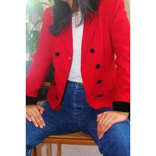 Red Double Breasted Blazer with Contrast Collar and Button Closures by Valerie Stevens