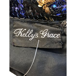 80's Silk Multicolor Sequin and Beaded Dress by Kelly's Grace