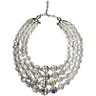 Iridescent Crystal Bead Multi Strand Necklace