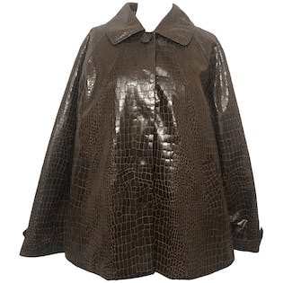 Brown Faux Snakeskin Long Sleeve Collared Coat by Dennis