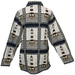 another view of Multicolor Knitted Graphic Long Sleeve Button Down Jacket by Blair
