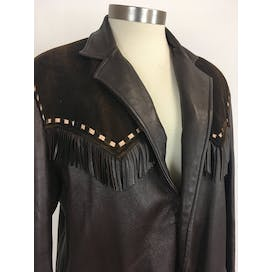 60's Fringe Leather Jacket With Studs and Suede Patches by Mid Western