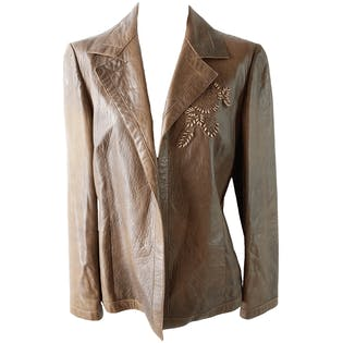Brown Leather Jacket with Beaded Detailing On Lapel by Marni