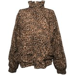 Brown and Black Leopard Print Long Sleeve Zip-up Jacket by Darlyn