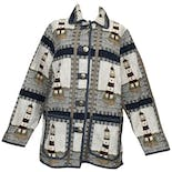 Multicolor Knitted Graphic Long Sleeve Button Down Jacket by Blair