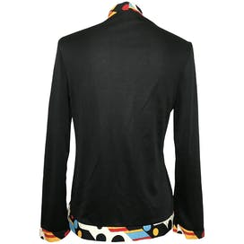 Black Long Sleeve Jacket with Multicolor and Geometric Trim by Ruffinwear Clovis Ruffin