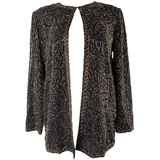 90's Black and Brown Beaded Jacket by Papéll Boutique Evening