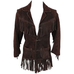 Brown Suede Button Up Jacket with Fringe