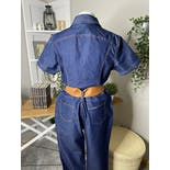 another view of Denim Short Sleeve Jumpsuit with Half Zipper by Watch La