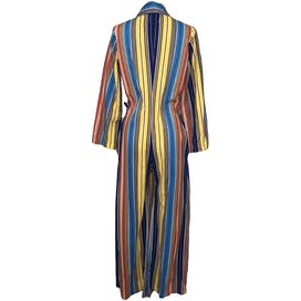 Vibrant Multicolor Striped Long Sleeve Zip Up Jumpsuit by Katz