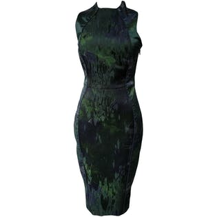 Fitted Green and Black Tea Length Dress by Katharine Kidd
