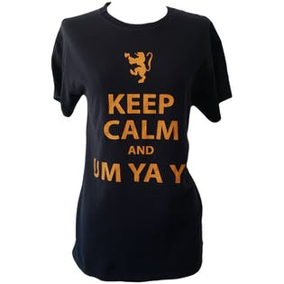 Black Keep Calm Graphic Print T-Shirt by Gildan
