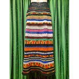 another view of 70's Rainbow Knit Crochet Maxi Skirt