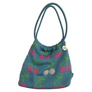 Blue and Pink Cherry Print Crochet Purse by The Sak