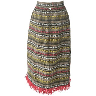 Knit Stiped Skirt with Abstract Patterns and Fringe Hem