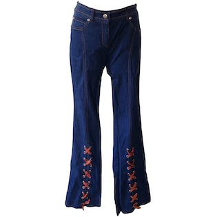 Lace Up Bottom Jeans with Red and Orange Stitching by Escada