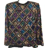 another view of 70's/80's Silk and Multicolor Diamond Print Sequin Jacket by Laurence Kazar