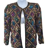 70's/80's Silk and Multicolor Diamond Print Sequin Jacket by Laurence Kazar